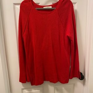 Red loft bell sleeve sweater